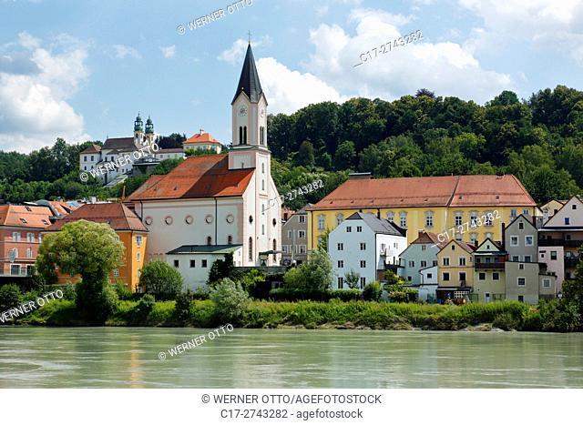 Germany, Bavaria, Eastern Bavaria, Lower Bavaria, Passau, Danube, Inn, Ilz, Passau-Innstadt, Saint Gertrude Church at the Inn riverwalk, former hospital church