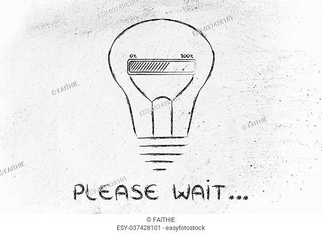 Please wait, progress bar inside a lightbulb: concept of idea loading or developing an innovation