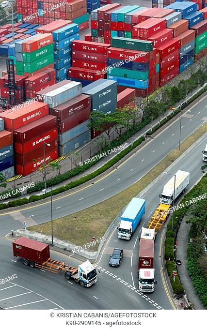 Aerial view , Color , Colour , Coloured , Commerce , Commercial , Container , Day , Daylight , Driving , From above , Harbor , High , International