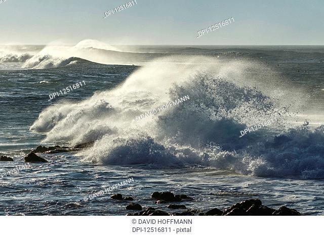 Crashing waves coming ashore at Hookipa beach near Paia; Maui, Hawaii, United States of America