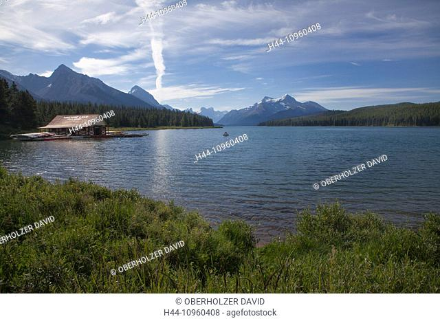 Alberta, mountains, Jasper, national park, Canada, scenery, landscape, Maligne Lake, North America, lake, water