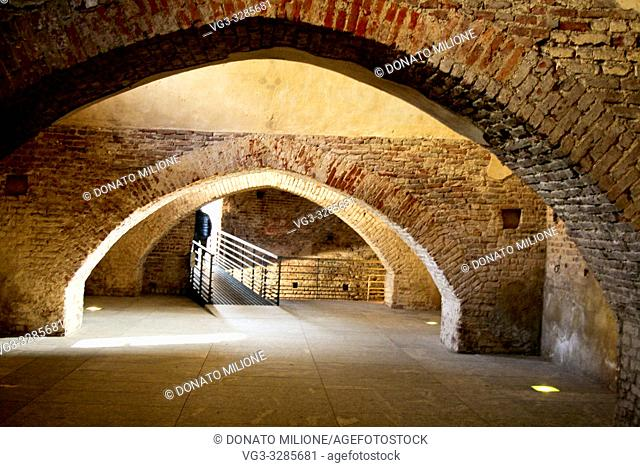 Vigevano, Pavia, Lombardy, Northern Italy. The Covered Road. Unique work in all European castle architecture, it represents one of the most formidable works of...