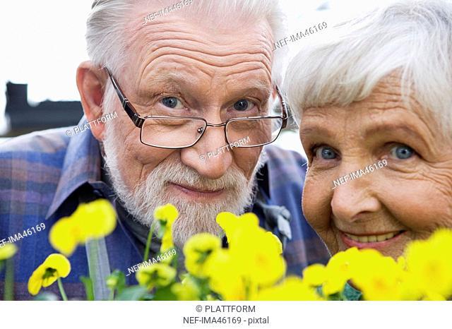 An elderly Scandinavian smiling couple Sweden close-up