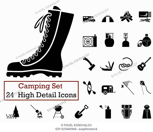 Set of 24 Camping Icons in Black Color