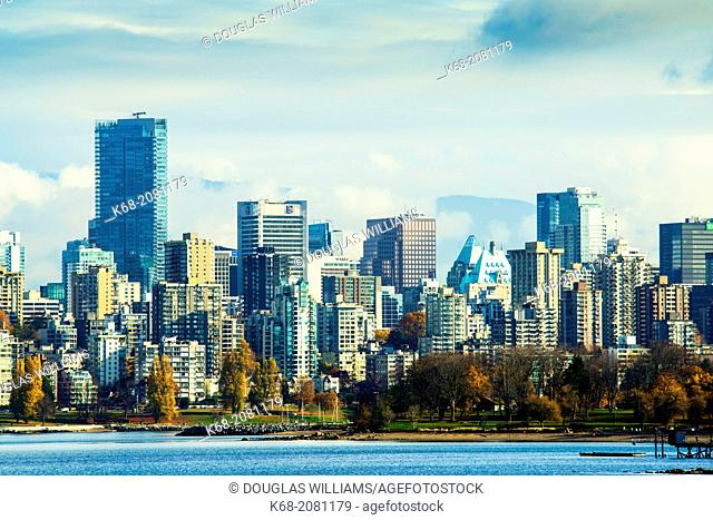 skyline of downtown Vancouver, BC, Canada from Kitsilano neighbourhood