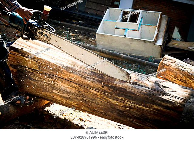 carpenter use Saw blade for cutting timber