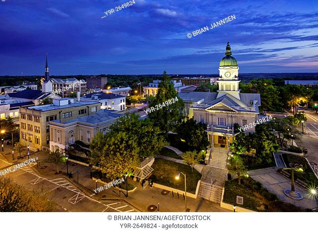 Morning twilight over city hall and town of Athens, Georgia, USA