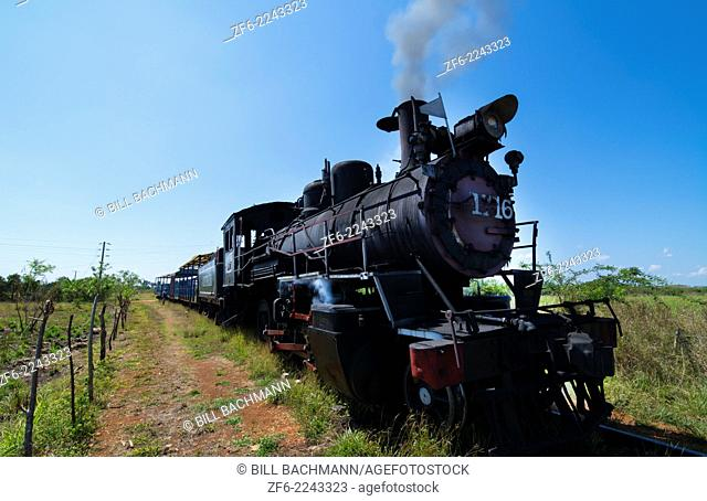 Cuba old steam train in 1913 in small town of Australia Cuba for tourists
