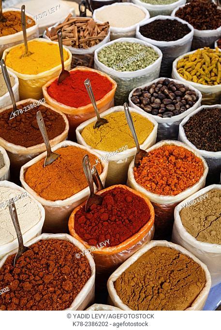 Spice stall at Mapusa Market, Goa, India