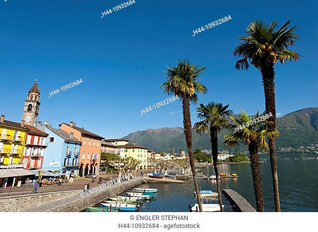 Switzerland, Europe, Ticino, Ascona, Lago Maggiore, lake, harbour, port, houses, homes, palms