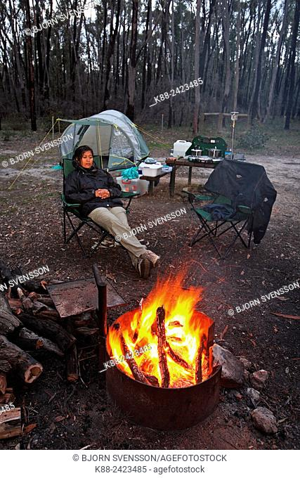 Campfire in the Australian bush. Grampians, Victoria