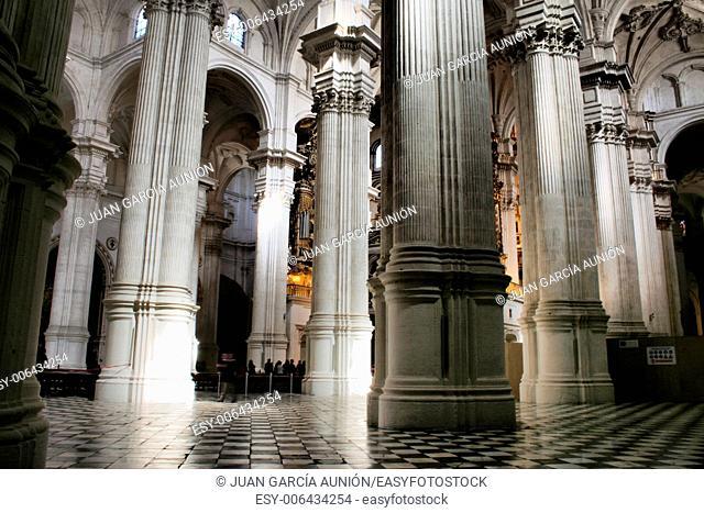 White interior of Cathedral church, Granada , Spain
