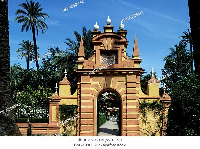 Gate, Gardens of the Alcazar (UNESCO World Heritage List, 1987), Seville, Andalusia, Spain, 14th-16th century