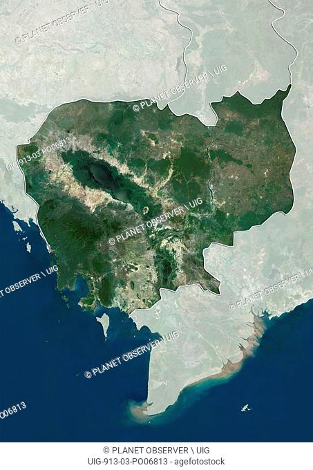 Satellite view of Cambodia (with country boundaries and mask). This image was compiled from data acquired by Landsat satellites