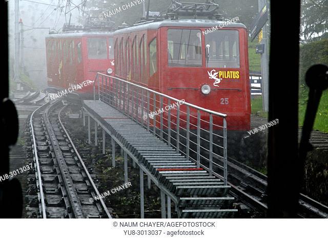 World's steepest cogwheel railway,snow storms in May, Mount Pilatus,, Central Switzerland