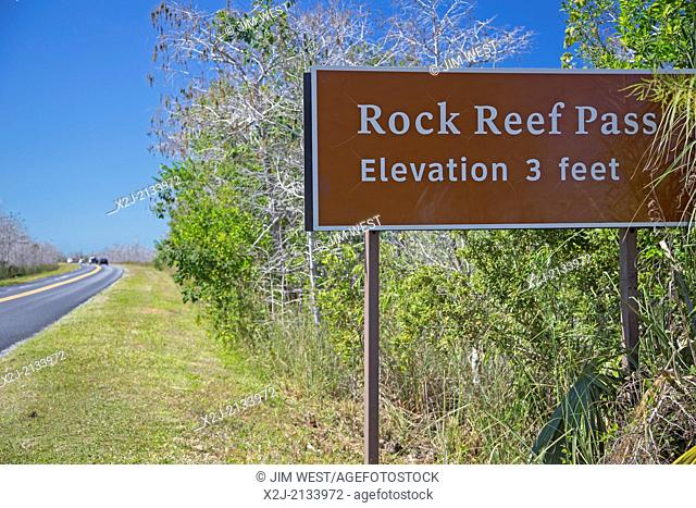 Everglades National Park, Florida - Rock Reef Pass, elevation 3 feet, on the main park road in the Everglades