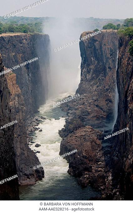 Victoria Falls from Zambia side-Zimbabwe is on the left side. Zambezi River is below