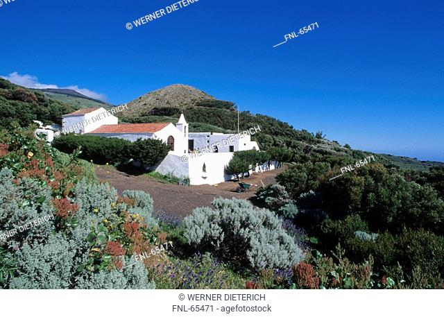 Church on hill, Ermita De Los Reyes, El Hierro, Canary Islands, Spain