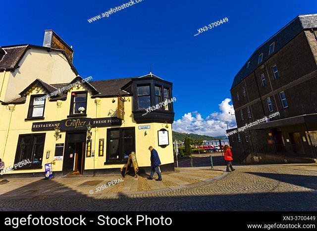 Restaurant, High street, on background Loch Linnhe, sea loch, Fort William, Lochaber, Scottish Highlands, Scotland, United Kingdom, Europe