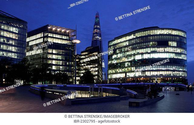 More London Riverside office development and The Shard London Bridge under construction, at back, London, England, United Kingdom, Europe