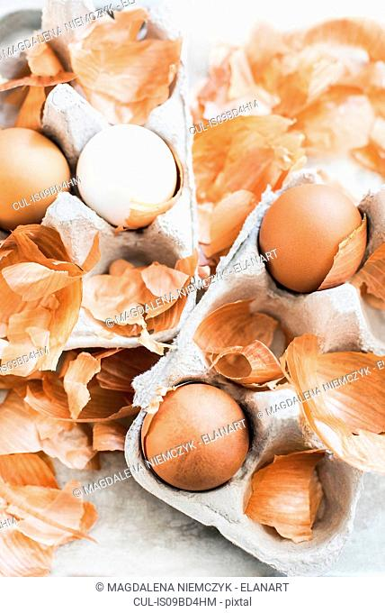 Still life of onion skins used for natural Easter egg dye, overhead view