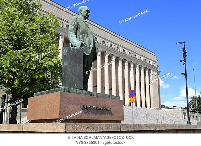 Statue of Finland's 3rd president P. E. Svinhufvud in front of the Finnish Parliament House building in Helsinki, Finland