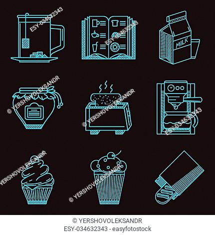 Set of blue line vector icons for elements of breakfast menu on black background