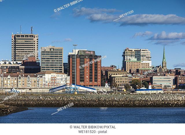 Canada, New Brunswick, Saint John, skyline from Saint John Harbour