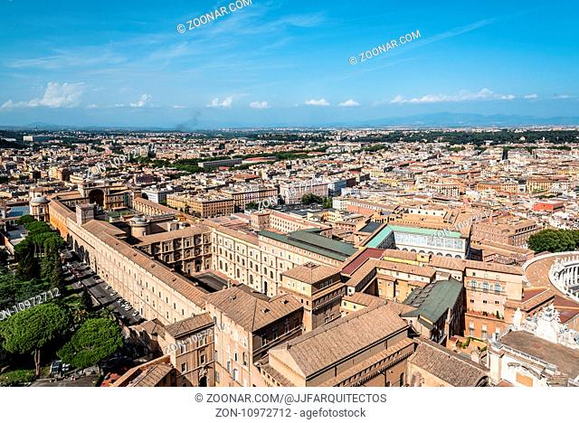 Rome, Italy - August 19, 2016: Aerial view of vatican Museums from from the dome of Basilica. The Vatican Museums are Christian and art museums located within...
