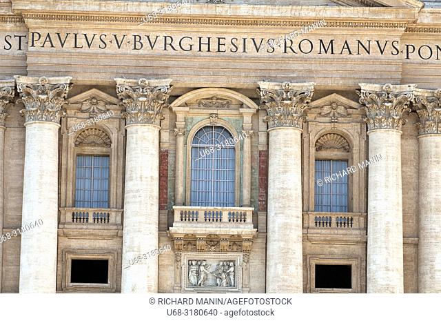 Italy, Rome. St. Peter's Square, Balcony at St. Peter's Cathedral in Vatican City