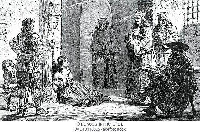 Affair of the Poisons, questioning the fortune teller Catherine Deshayes, known as La Voisin (Paris, 1640-1680) in 1680, engraving, 19th century
