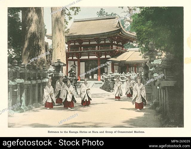 Entrance to the Kasuga Shrine at Nara and Group of Consecrated Maidens. Japan. Tetsudoin (Author). Sights and scenes in fair Japan