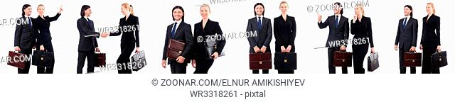 Businessman and businesswoman with briefcases isolated on white