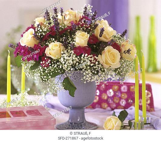 Arrangement of roses, pinks, Gypsophila and lavender