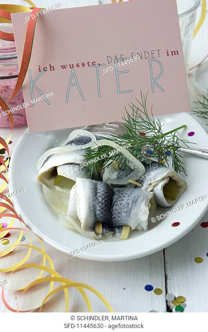 Rollmops with dill and onions