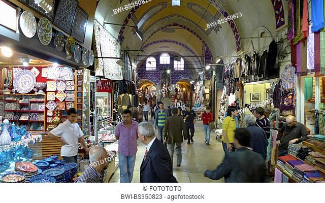 Grand Bazaar, sale of textiles, craftwork and tiles, Turkey, Istanbul, Eminoenue, Beyazit