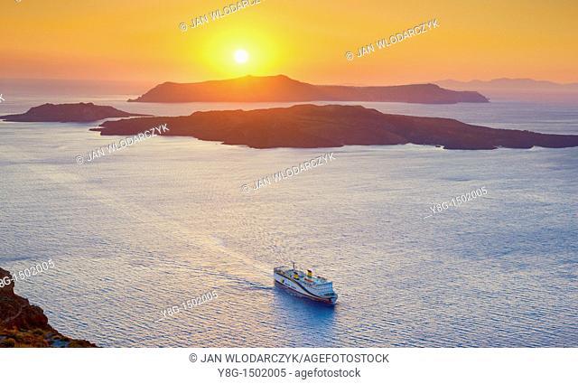 Nea Kameni and Thirasia - viev from Santorini Island, Cyclades, Greece