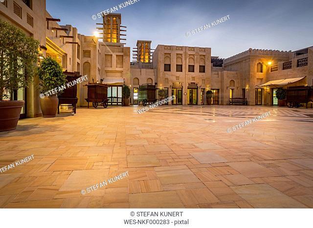 United Arab Emirates, Dubai, Atrium of Souk Madinat in the evening