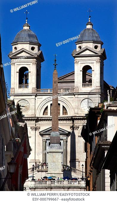 Trinita dei Monti 16th Century French Church Egyptian obelisk Rome Italy Top of the Spanish Steps