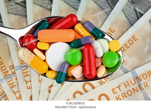 Danish kroner.Currency from Denmark in Europe.Tablets.Health costs