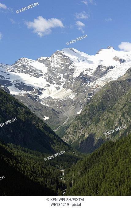Parco Nazionale del Gran Paradiso or Gran Paradiso National park. Mountain view from near the town of Cogne