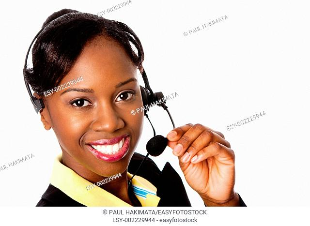 Beautiful happy smiling African business woman customer service representative operator, isolated