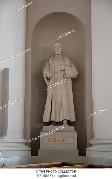 Statue of Mikael Agricola, Lutheran Cathedral, Helsinki, Finland, 2011. Mikael Agricola (1510-1557) was a Finnish clergyman who was an important figure in the...