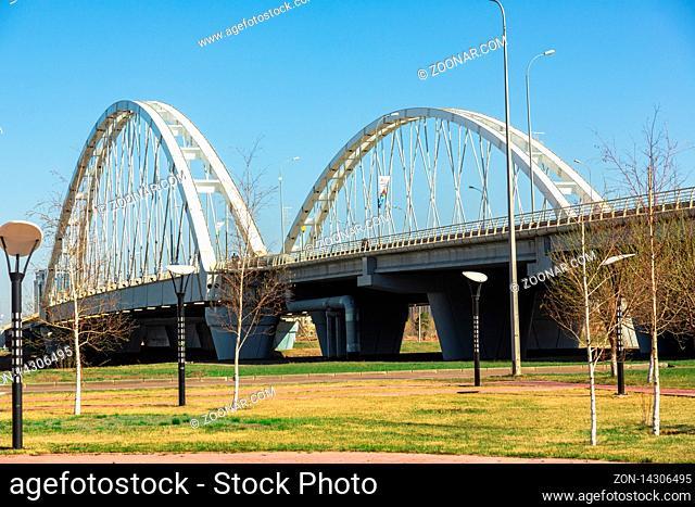 NUR-SULTAN, KAZAKHSTAN - APRIL 30, 2014: Road bridge Arkhar in Kazakhstan