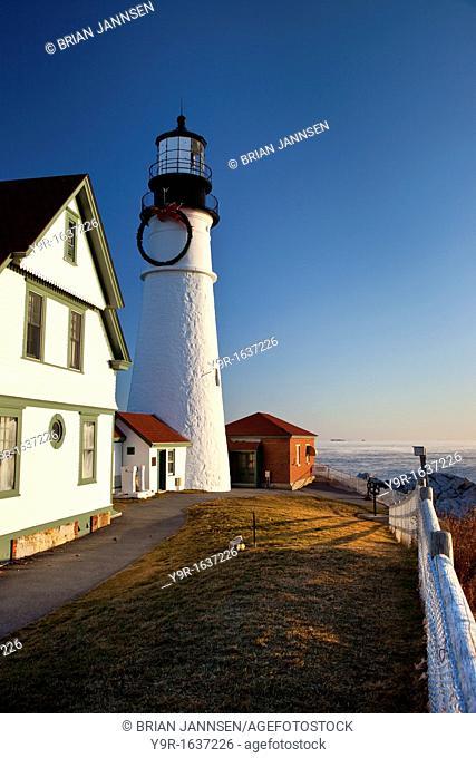 Christmas time at Portland Head Lighthouse, Portland Maine, USA