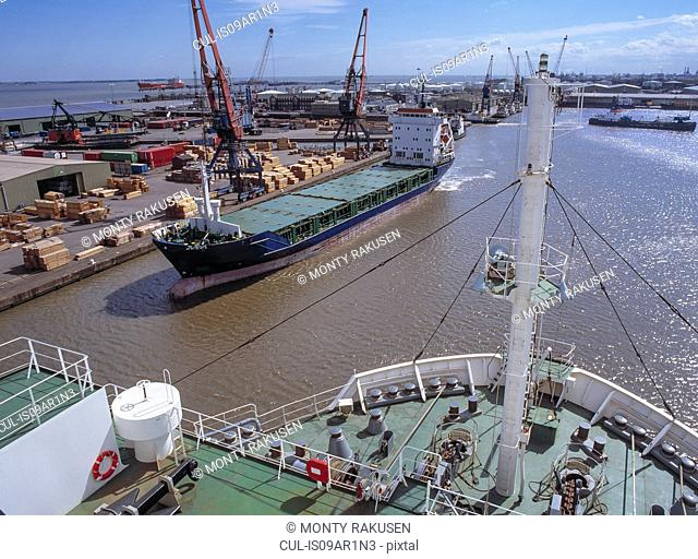High angle view from ship in port, Grimsby, England, United Kingdom