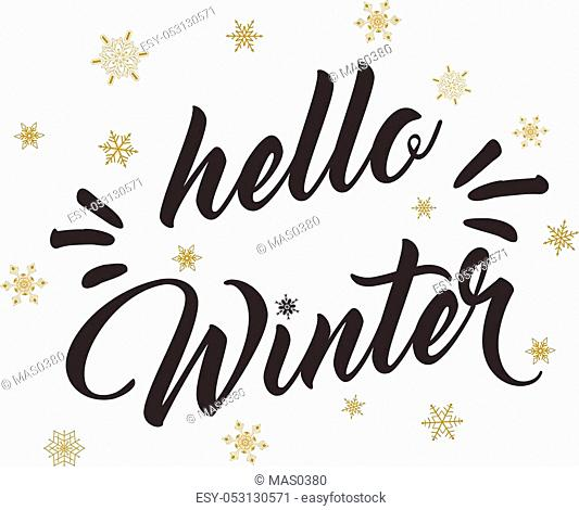 Hello winter text and golden snowflakes. Winter season greeting card design. Isolated on white