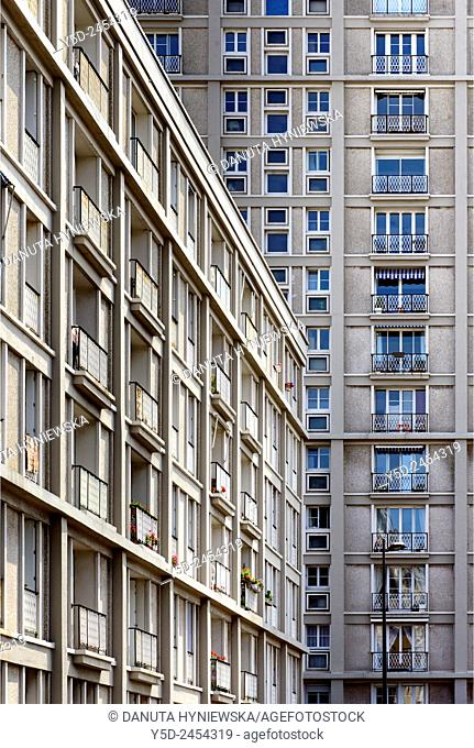 Downtown rebuilt by Auguste Perret listed as World Heritage by UNESCO, facades of Perret buildings, Le Havre, Seine Maritime, Upper Normandy, France