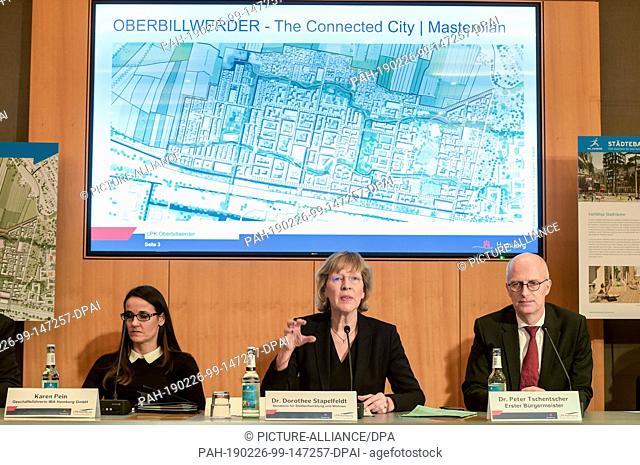 26 February 2019, Hamburg: Peter Tschentscher (SPD), First Mayor of the City of Hamburg, Dorothee Stapelfeldt (SPD, M), Senator for Urban Development