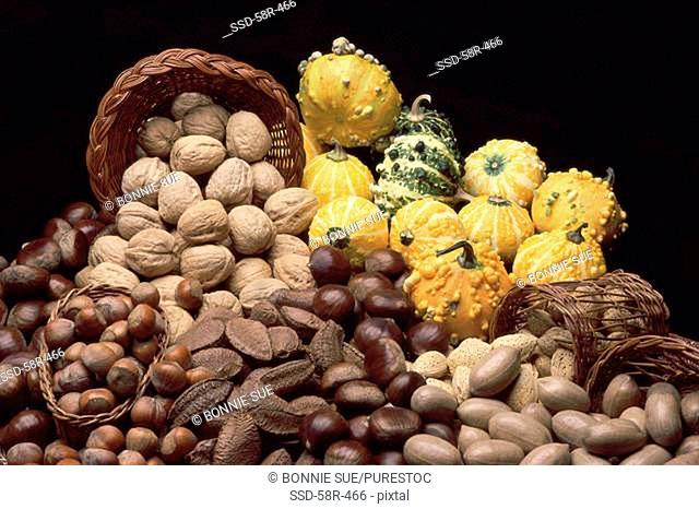 Assorted nuts laid out with baby gourds